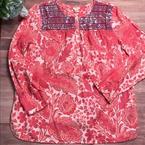J crew floral embroidered top size small coral
